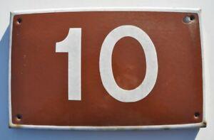 1950s USSR Soviet Russia House Building Door Number Sign # 10 HOT ENAMEL