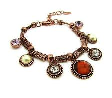 NEW Viennois Charm Bracelet Crystal Pearls Rhinestones Red Gold Lobster Hook