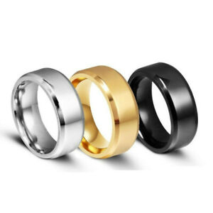 Fashion 6MM/8MM Stainless Steel Rings for Men Band Titanium Jewelry Size 5-12