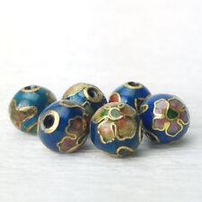 Vintage Teal Blue w/ Pink Blue Flowers Cloisonne Chinese Enamel Round 8mm 6PCs