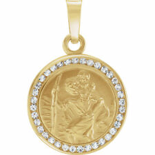 St. Christopher Medal 14K Yellow Created with White Sapphires 14mm Width