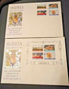 Anguilla 1978 25th Anniversary of the Coronation Set & M/s - 2 First Day Covers