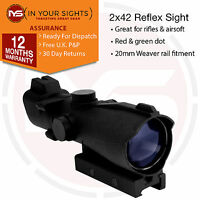 Airsoft ACOG style rifle scope / 2x42 tactical gun sight / Suits 20mm rail