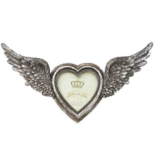 ALCHEMY WINGED HEART PHOTO PICTURE FRAME, SILVER COLOUR, GOTHIC, WINGS