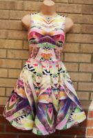 AQ/AQ AQUA COUTURE ABSTRACT MULTI COLOUR SLEEVELESS FLIPPY SKATER PARTY PROM 8