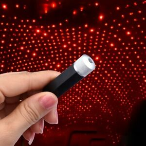 2 USB Car Interior LED Light Roof Room Atmosphere Starry Sky Lamp Star Projector