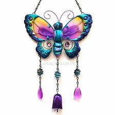 BUTTERFLY wind chime, mobile with metal bell, metal wall art