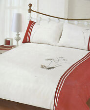 RED CREAM BLACK TAUPE DOUBLE BED DUVET SET  EMBROIDERED MOSLEY
