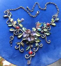 ENAMEL BUGS FLOWERS BUTTERFLY LADY BUG NECKLACE EARRINGS DEMI PARURE1960 FINEST