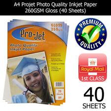 PROJET A4 INKJET PHOTO PAPER 40 SHEETS PREMIUM QUALITY 260 GSM GLOSS FINISH