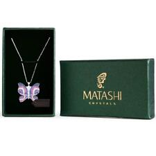 Rhodium Plated Butterfly Necklace w/ Pink, Blue and Clear CZ Stones By Matashi
