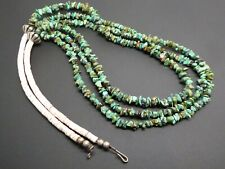 """Vintage Navajo 3 Strand Turquoise Gemstone Shell Heishi Silver Bead Necklace 28"""""""