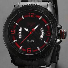 SHARK ARMY Fashion Men's Date Black Steel Quartz Wrist Military Sport Watch+Box