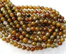 UKcheapest-brown dragonvein agate faceted round 6mm gemstone beads