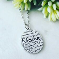 Silver mother / mothers day love engraved oval disk charm pendant necklace
