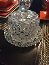 VINTAGE DEPRESSION GLASS COVERED BUTTER DISH Daisy &Buttons