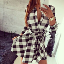 UK Womens Plaid Romper Skirt Dress Ladies Party Mini Shirt Dress Size 6 - 14