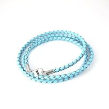 Silver Stainless Steel Lobster Clasps Blue Leather Wrist Band Straps Bracelet