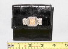 BRIGHTON Crown Billfold Black Croco Embossed Leather Bifold Wallet