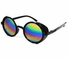 ANT Steampunk Sunglasses Coating Mirrored Round Circle - MULTICOLOR