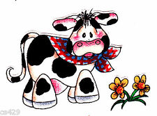 2.5 Country holstein cow daisy farm animal fabric applique iron on character