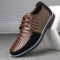 Men Genuine Leather Splicing Non-slip Soft Sole Casual Driving Shoes Size 39-48