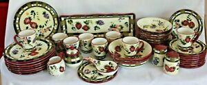 Set of 41 ONEIDA Strawberry Plaid Hand Painted Dinnerware Grapes Berries MINT