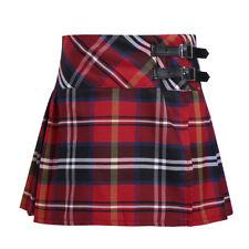 Girls Tartan Pleated Billie Kilt Miniskirt Kids Classical School Uniforms Skirt