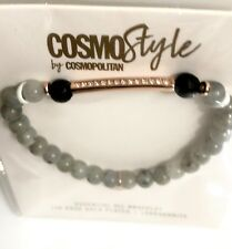 CosmoStyle Essential Oil Bracelet Labradorite 14k Rose Gold Plated Pave Peace