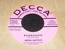 Mona Baptiste DECCA Pink Label Advance 45 rpm RUMBANGO Exotic Female Jazz Vocals