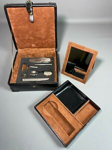 Vintage Wolf Designs Genuine Black Leather Watch Box / Travel Kit w/ Accessories