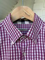 Men's Burberry Brit Pink White Plaid Cotton Long Sleeve Shirt Size M