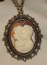 Marbly Caramel & Cream Two Girls Friends Sisters Cameo Brasstn Pendant Necklace