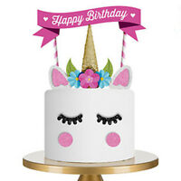 1 Set Unicorn Cake Topper Happy Birthday Candle Party Supplies Decor Tool DIY US