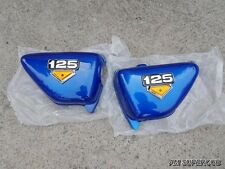 HONDA CG125 CG100  Blue Side Cover Pair , Left & Right  + emblem  // New
