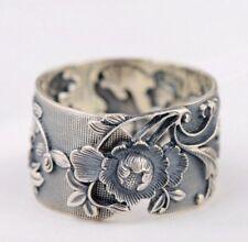 925 Sterling Silver flower Ring Adjustable Leaf Statement Chunky Natural Nature