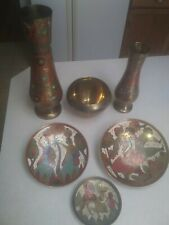 Turkish / Mid-Eastern Copper Vases (2), Hanging Plates (3), and Bowl (1)