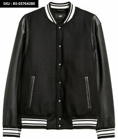 Noah Centineo The Perfect Date Black Fleece Varsity Jacket With Leather Sleeves