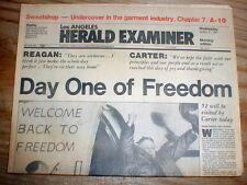 1981 headline display newspaper IRANIAN HOSTAGE CRISIS ENDS Iran Frees Americans