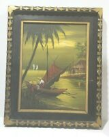 Vtg Listed Philippine Art Pulido Sanchez 1977 Oil on canvas man boat Painting