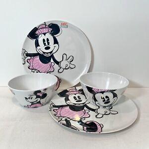 Minnie Mouse 2 Melamine Dinner Plates + 2 Matching Bowls Disney by Zak Designs