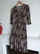Ladies Lovely M&S Portfolio Chocolate Mix Knee Length Stretch Dress Size 12, Vgc