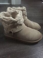 UGG Boots Sz.8 Snug Driftwood Suede Lower & Knit Low Calf Rise
