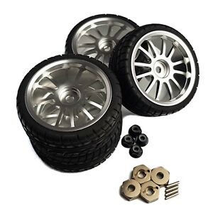 4x1/10 RC Alloy Wheels MultiSpoke Silver Tyres for Tamiya TT02 TT01 TA 12mm Hex