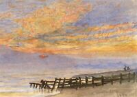 E. Venis, Beach at Sunset with Groyne, Hastings – 1894 watercolour painting