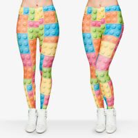 Women Toy Bricks 3D Graphic Print Skinny Stretchy Comfortable Leggings