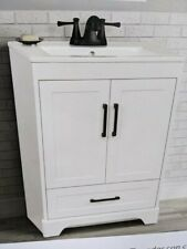 """24"""" Bathroom Vanity Cabinet with Glass Top and Mirror White by styleselections"""