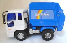 Chinese Toy Blue & White Plastic Garbage Truck Back Door Opens