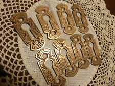 8 Antique Vintage Cast Brass/Bronze Keyhole Covers Eastlake 516 Z