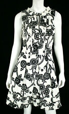 OSCAR DE LA RENTA Ivory & Black Floral Cotton Pleated Flared Dress 10